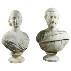 Reclaimed Lady and Gentleman Marble Busts, 20th Century