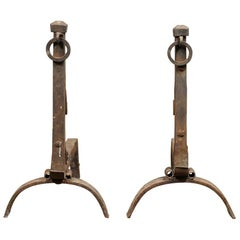 Reclaimed Large Wrought Ring Pull Fire Dogs, 20th Century