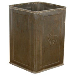 Reclaimed Metal Container with Horse Motif, 20th Century