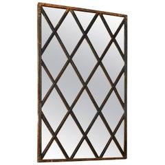 Reclaimed Metal Diamond Window Mirror, 20th Century