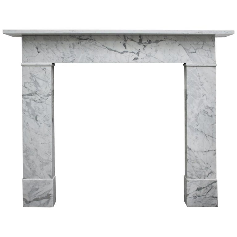 English Reclaimed Mid-19th Century Carrara Marble Fireplace Surround For Sale