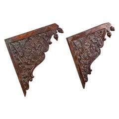 Reclaimed Ornately Carved Teak Brackets, 20th Century