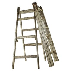 Reclaimed Pair of Wooden Trestle Ladders, 20th Century