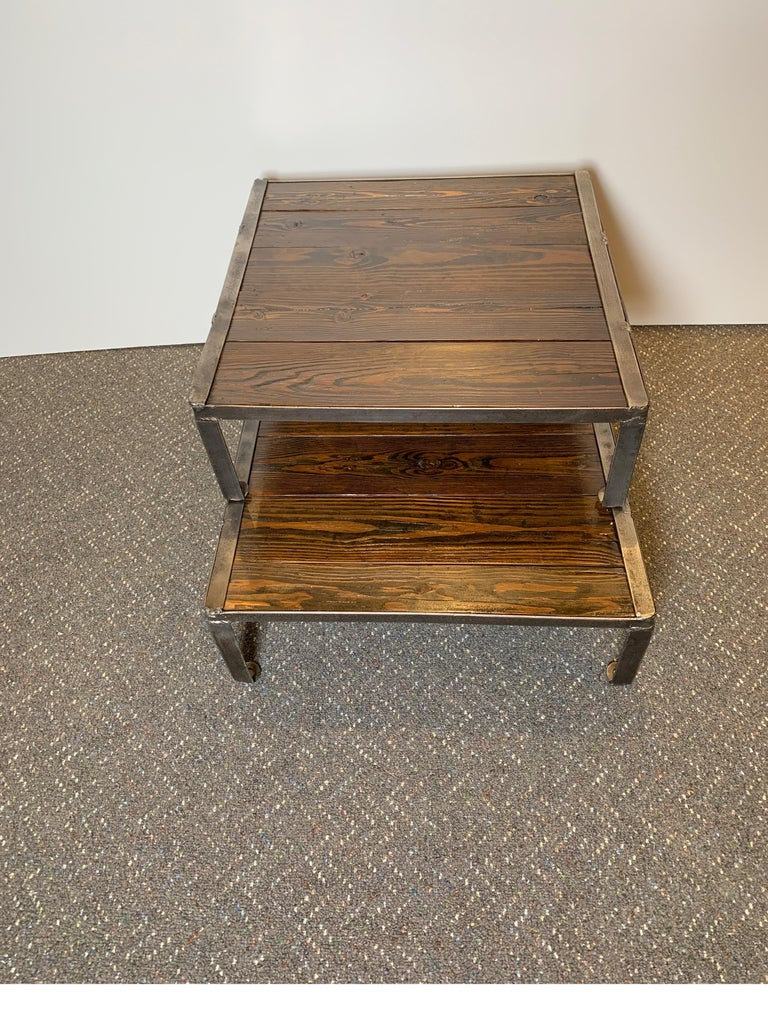 Mobile Coffee Table.Reclaimed Pallets And Steel Repurposed As A Stacking Coffee Table