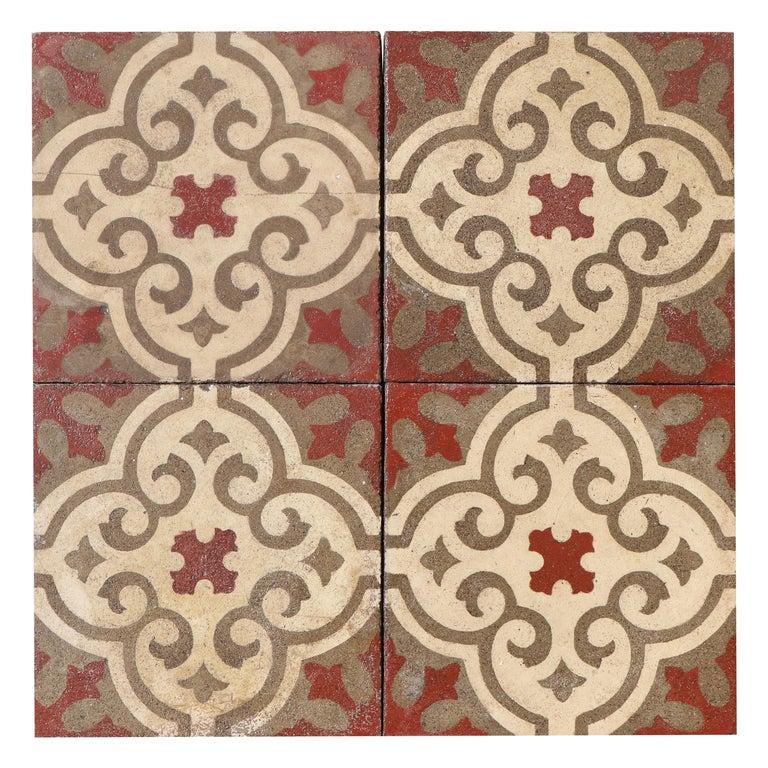 Reclaimed Patterned Encaustic Floor Tiles For Sale At 1stdibs