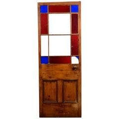 Reclaimed Pine Red / Blue Glazed Door, 20th Century