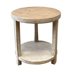 Reclaimed Pine Round Side Table with White Painted Legs