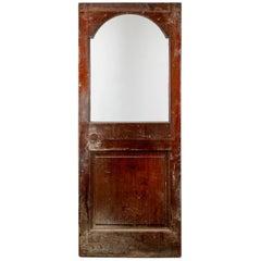 Reclaimed Red Hardwood Single Arch Glass Door, 20th Century