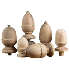 Reclaimed Solid Wood Finials or Post Tops, 20th Century