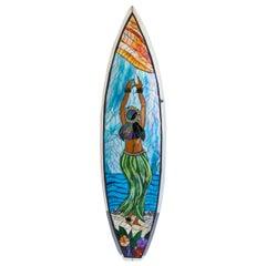 Reclaimed Surfboard Hula Girl Original Art
