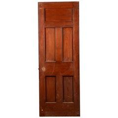 Reclaimed Teak Five Panel Interior Door, 20th Century