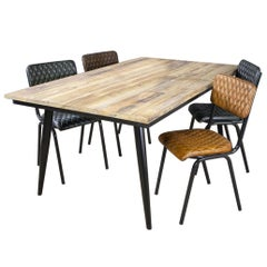 Reclaimed Timber Table with Metal Base, 20th Century