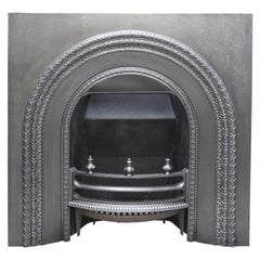 Reclaimed Victorian Cast Iron Fireplace Insert with Arched Aperture