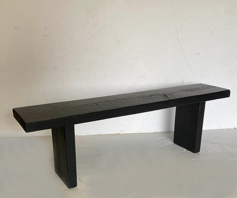 One of a kind bench made in reclaimed Douglas fir in black finish. Perfect for a small entry bench, plant stand or a small coffee table.