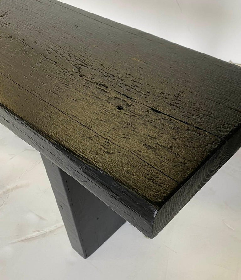 Contemporary Reclaimed Wood Bench in Black Finish For Sale