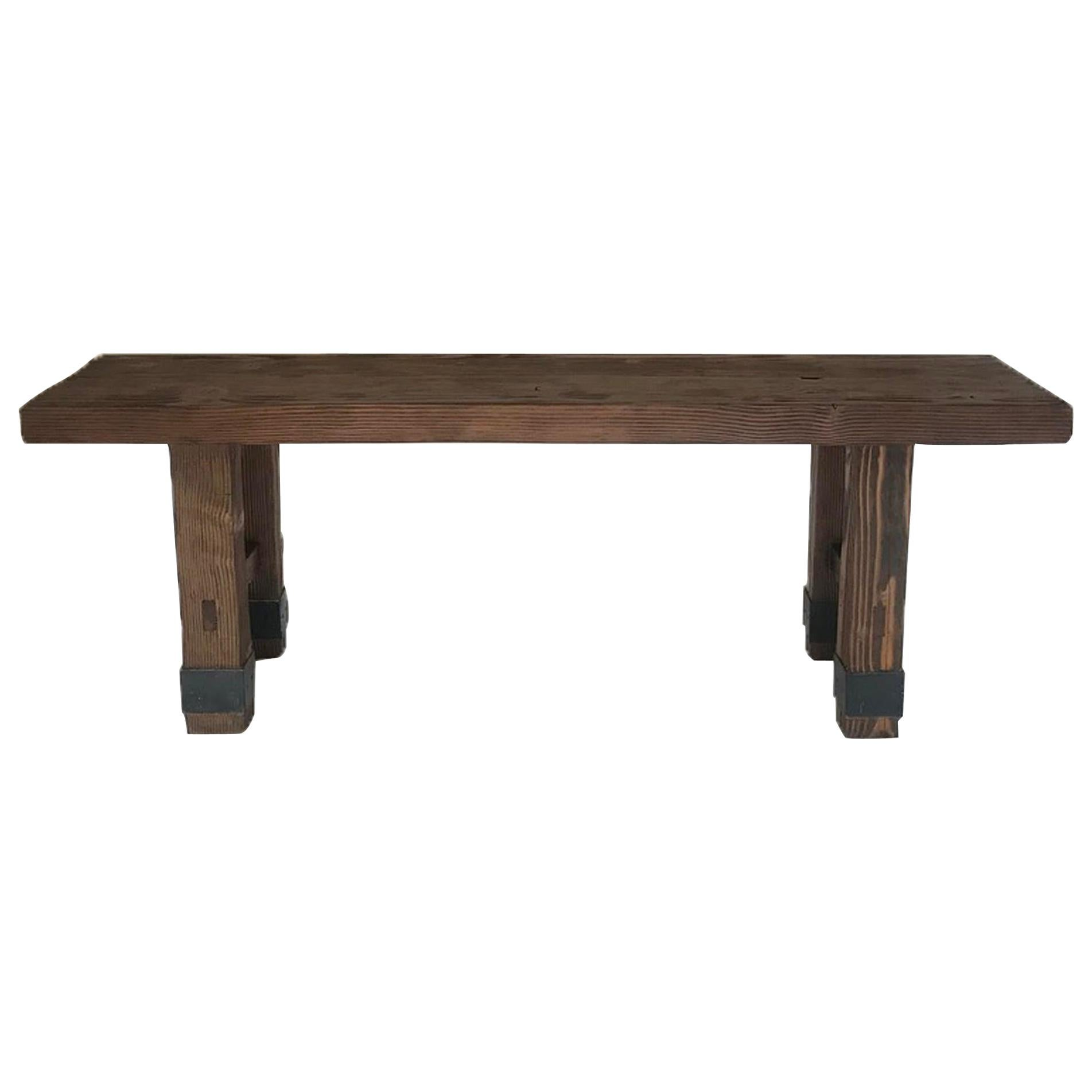 Reclaimed Wood Console with Iron Banding