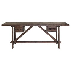 Reclaimed Wood Console with Two Antique Drawers