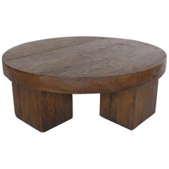 Reclaimed Wood Rustic Chunky Round Coffee Table