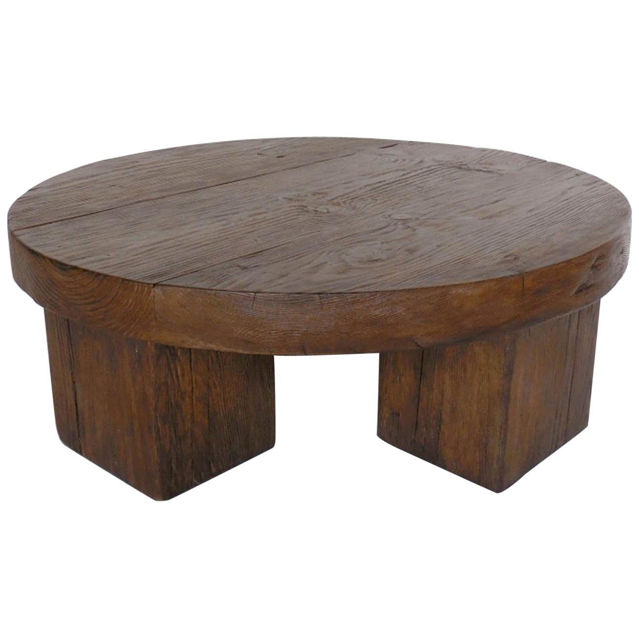 Custom Reclaimed Wood Rustic Chunky Round Coffee Table At 1stdibs