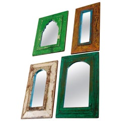 Reclaimed Wood Rustic Painted Mirrors, 20th Century