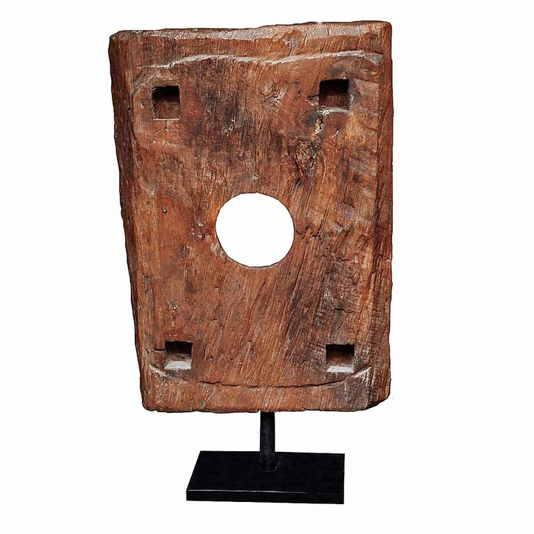 Hand-Carved Reclaimed Wood Tile Sculpture on Stand, Mid-20th Century For Sale