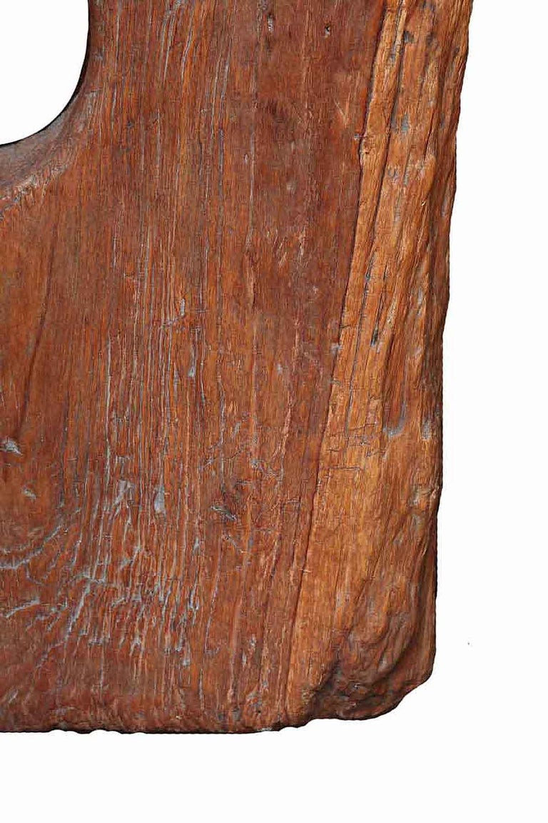 Teak Reclaimed Wood Tile Sculpture on Stand, Mid-20th Century For Sale