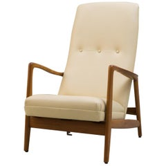 Reclining Armchair '829' in Cream Leather by Gio Ponti, 1960