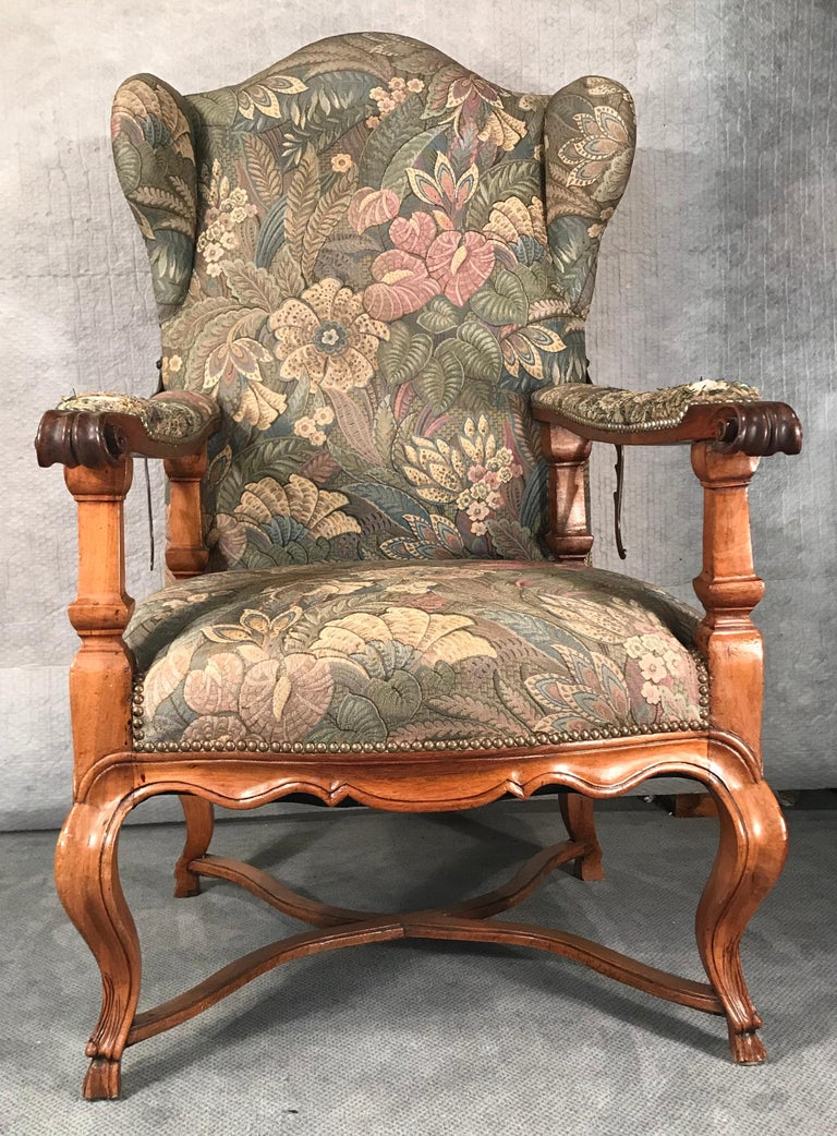 Mid-18th Century Reclining Baroque Wingback Chair, Germany 18th Century, Walnut For Sale