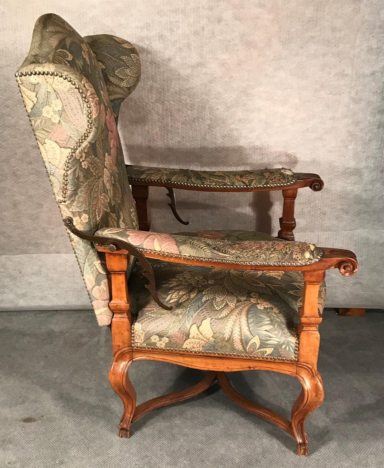 Reclining Baroque Wingback Chair, Germany 18th Century, Walnut For Sale 1