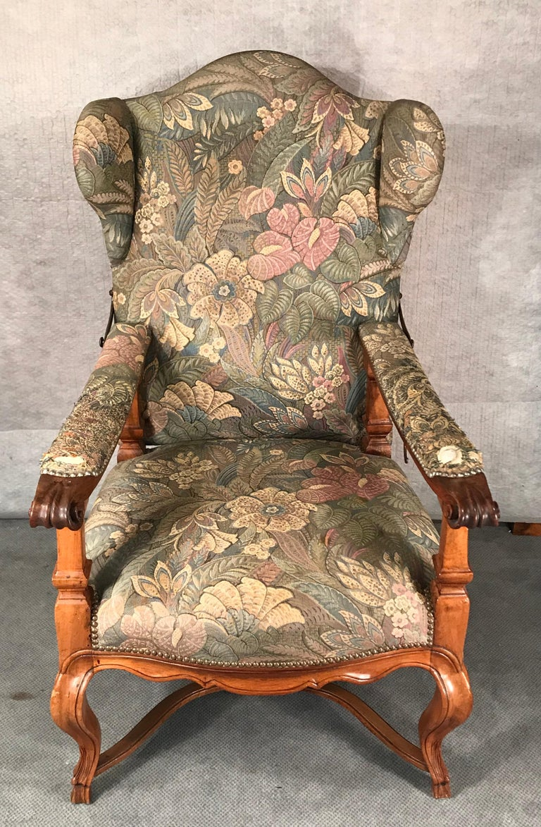 Reclining Baroque Wingback Chair, Germany 18th Century, Walnut For Sale 3