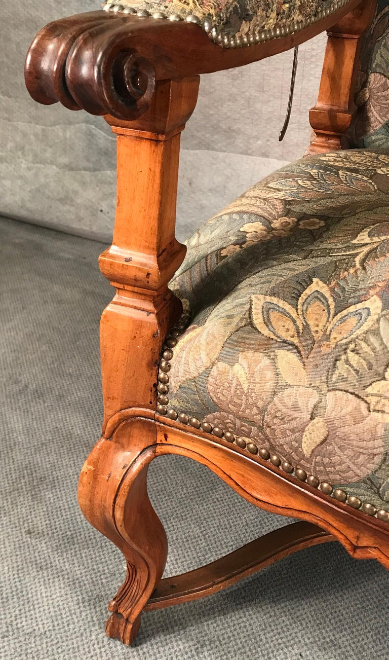 Reclining Baroque Wingback Chair, Germany 18th Century, Walnut For Sale 4