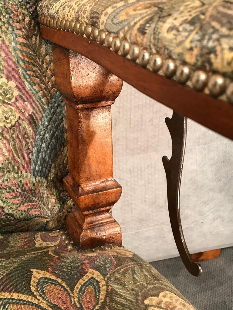 Reclining Baroque Wingback Chair, Germany 18th Century, Walnut For Sale 5