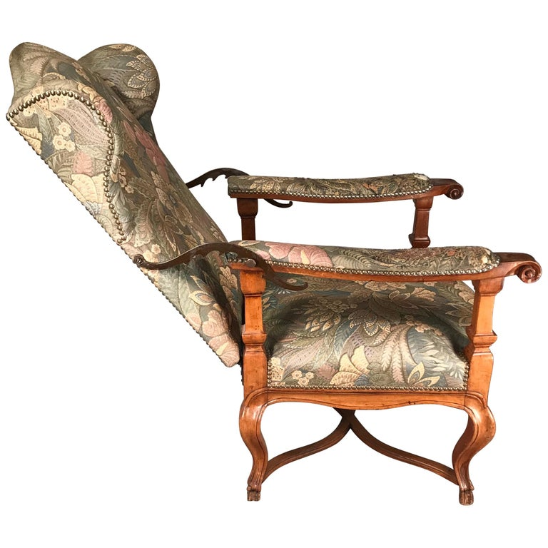 Reclining Baroque Wingback Chair, Germany 18th Century, Walnut For Sale