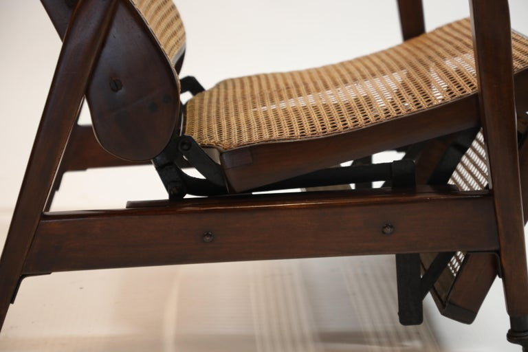Reclining Chair in Brazilian Jacaranda Rosewood and Cane, Brazil, circa 1940 For Sale 9