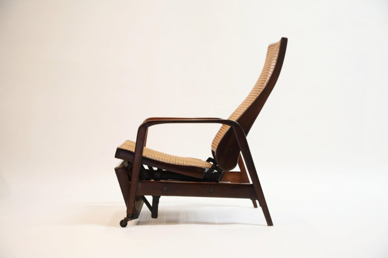 Modern Reclining Chair in Brazilian Jacaranda Rosewood and Cane, Brazil, circa 1940 For Sale
