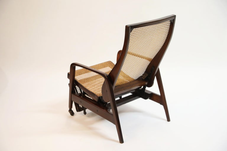 Reclining Chair in Brazilian Jacaranda Rosewood and Cane, Brazil, circa 1940 For Sale 2