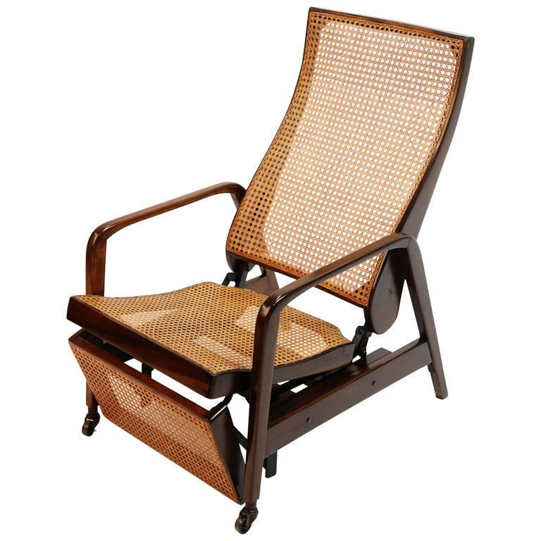 Reclining Chair in Brazilian Jacaranda Rosewood and Cane, Brazil, circa 1940 For Sale