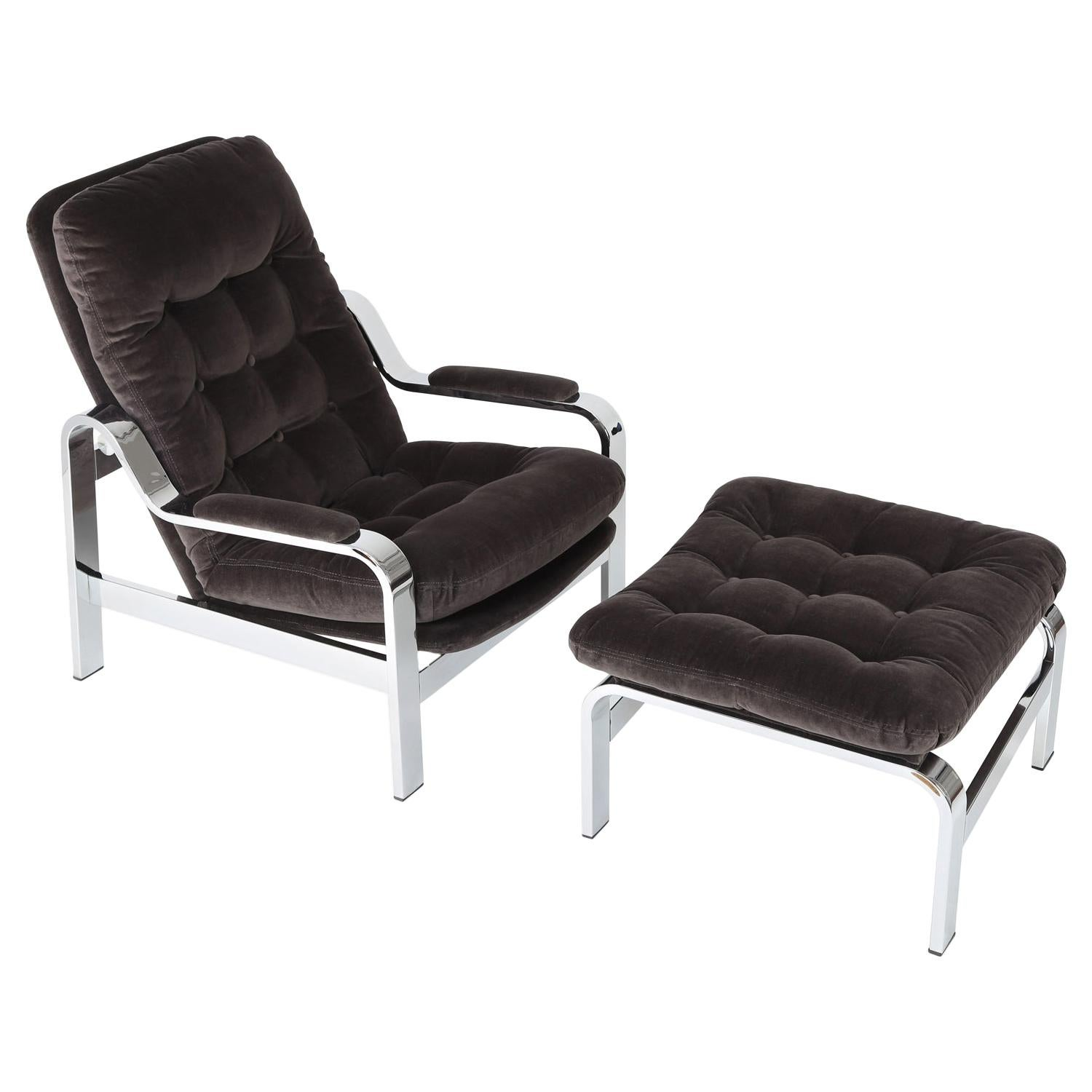 Reclining Chair with Ottoman in Velvet, 1970s