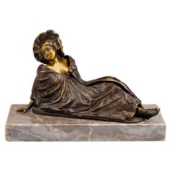 Reclining Lady Erotic Bronze by Franz Bergmann