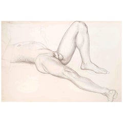 """Reclining Male Nude,"" Drawing of Man Reading Newspaper, World's Fair Muralist"