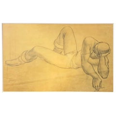 """""""Reclining Man,"""" Masterful Drawing of Powerful Male Figure by Fletcher Martin"""