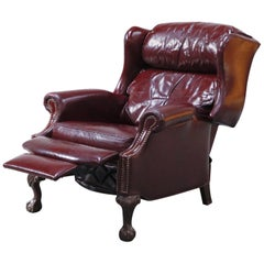 Reclining Napoleon III Style Wingback Library Armchair in Burgundy Leather