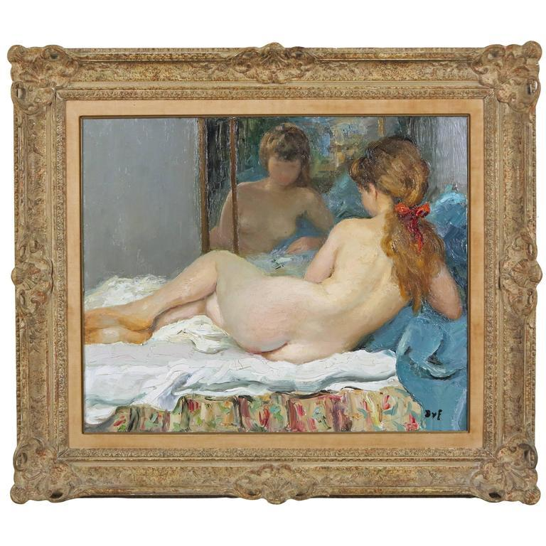 French Reclining Nude Painting by Marcel Dyf For Sale