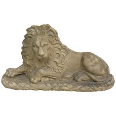 Reclining Plaster Lion Sculpture