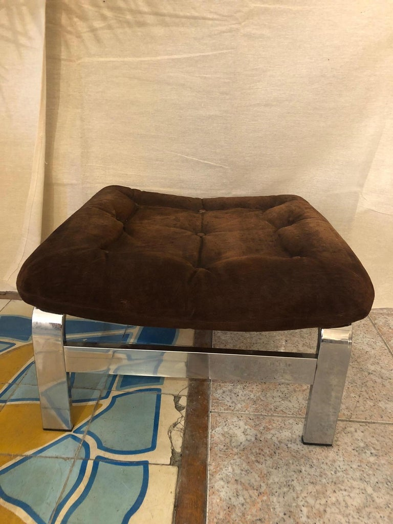 Reclining Suede Armchair with its Matching Ottoman For Sale 4