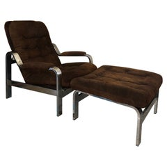 Reclining Suede Armchair with its Matching Ottoman