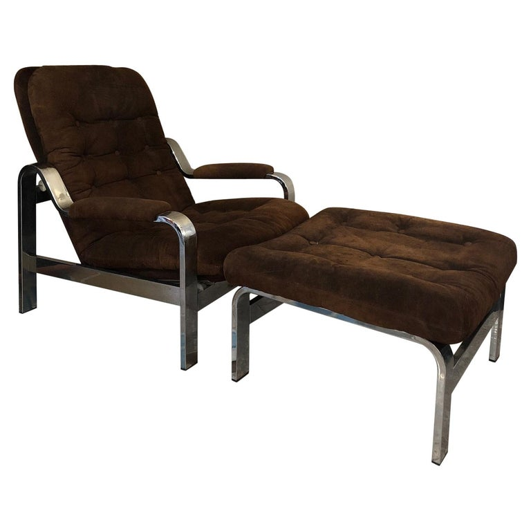 Reclining Suede Armchair with its Matching Ottoman For Sale