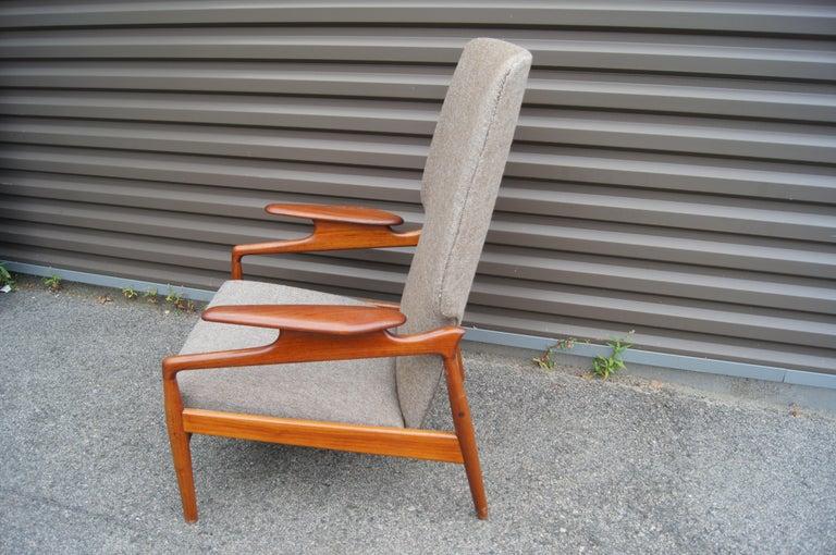 American Reclining Teak Lounge Chair by John Boné For Sale
