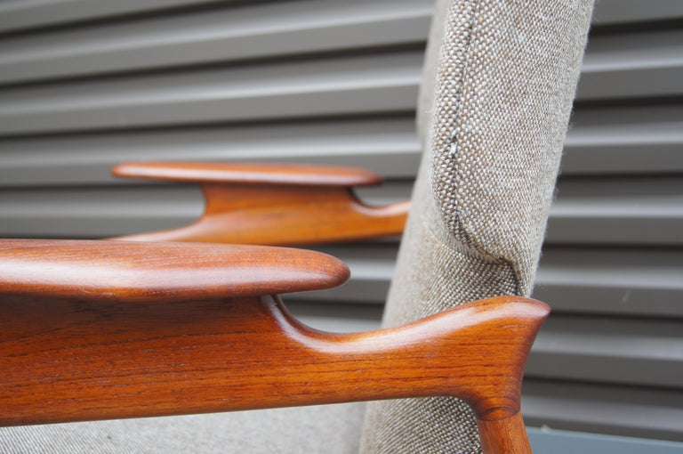 Reclining Teak Lounge Chair by John Boné In Good Condition For Sale In Boston, MA