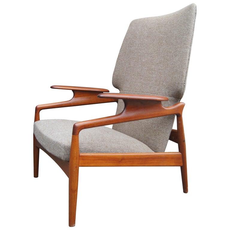 Reclining Teak Lounge Chair by John Boné For Sale